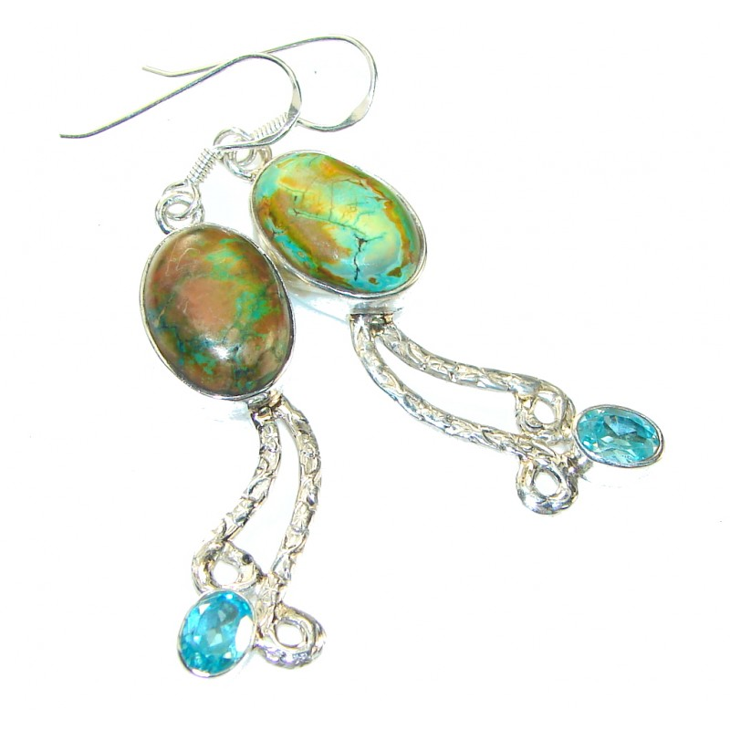 Classy! Green Copper Turquoise Sterling Silver earrings