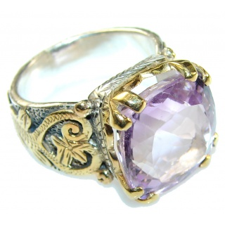 5.6ct Square Cut Pink Amethyst Sterling Silver Plated with 24ct Gold Ring s. 6 1/2