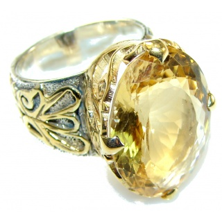 12 ct Marquise Cut Citrine Sterling Silver Plated with 24ct Gold Ring s. 7