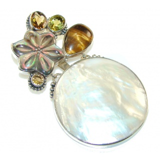 Large!! Fabulous Design! Blister Pearl Sterling Silver pendant