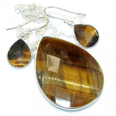 Delicate! Brown Tigers Eye Sterling Silver Necklace / Earrings