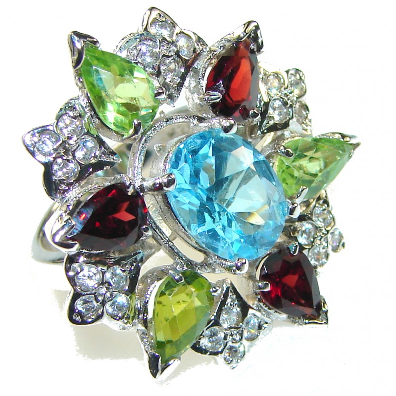 Beautiful Design!! Swiss Blue Topaz Sterling Silver Ring s. 7 1/2