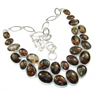 Touch Of Life!! Brown Smoky Topaz Sterling Silver necklace