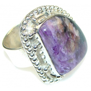 Stylish!! Purple Siberain Charoite Sterling Silver ring s. 7 1/4