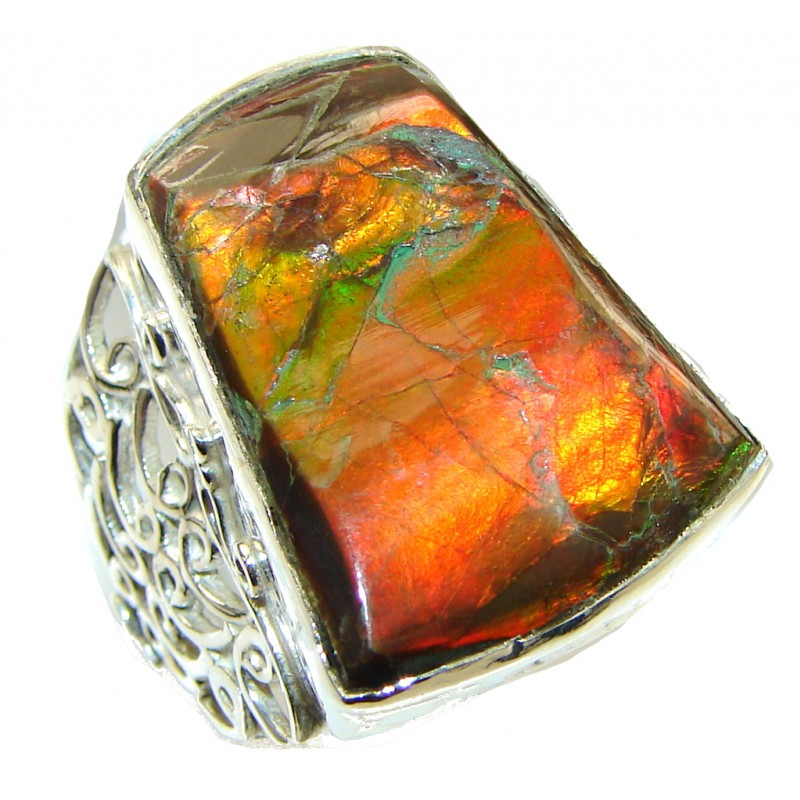 Fancy Quality!! Red Ammolite Sterling Silver ring s. 11