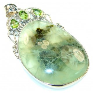 Awesome! Green Moss Prehnite Sterling Silver Pendant