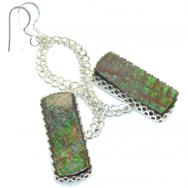 Natural Green Ammolite Sterling Silver earrings / Long