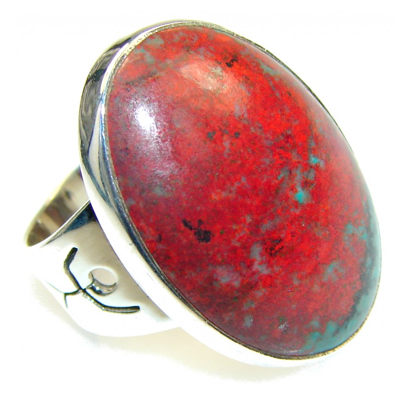 Natural! Red Sonora Jasper Sterling Silver ring s. 6