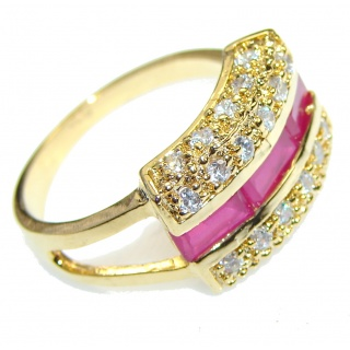 Celebrate Love!! Pink Ruby, Gold Plated Sterling Silver ring s. 8 1/2