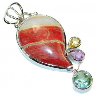 Sublime Quality Red Zebra Jasper Sterling Silver Pendant