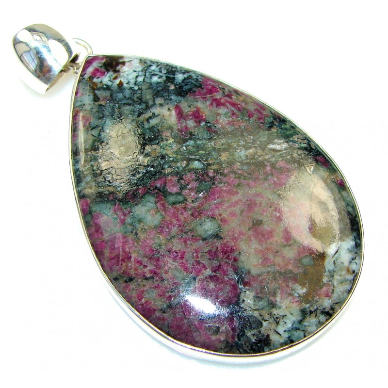Huge Russian Eudialyte Prehnite Sterling Silver Pendant