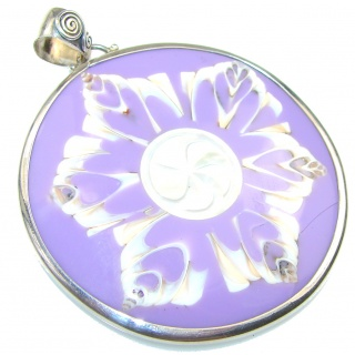 Amazing Purple Ocean Shell Sterling Silver Pendant