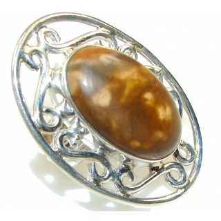 Large Perfect Montana Agate Sterling Silver Ring s. 7
