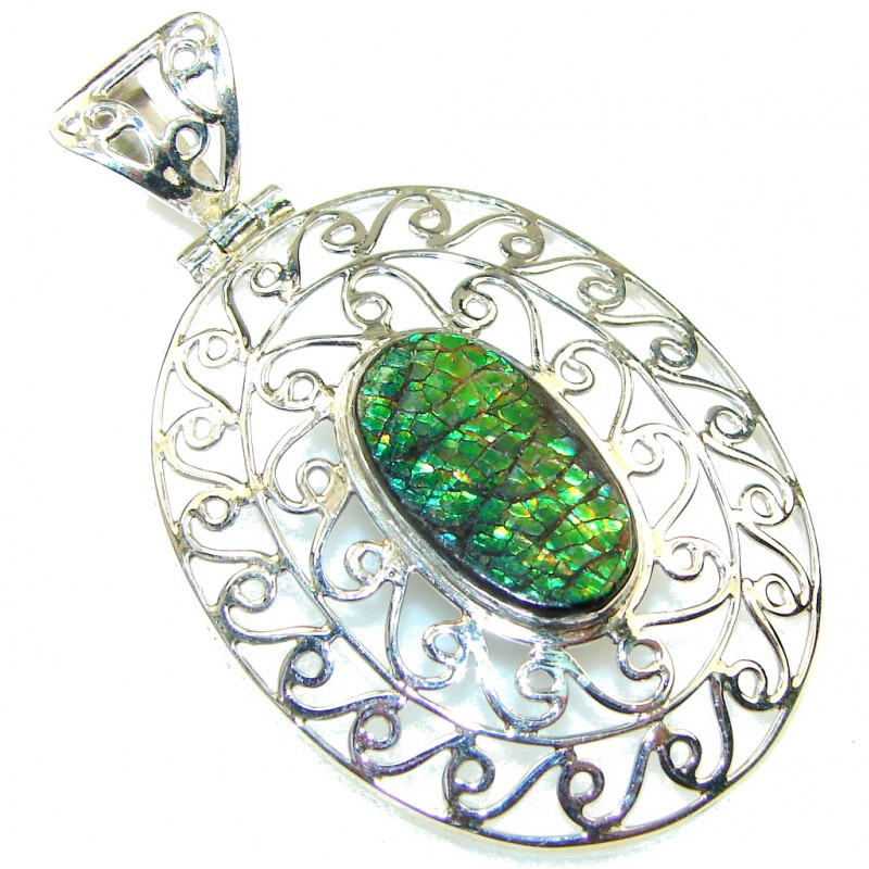 Natural Green Ammolite Sterling Silver Pendant