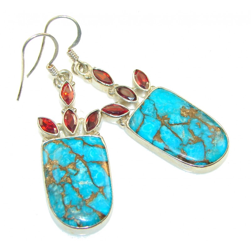 Summer Blue! Copper Turquoise Sterling Silver earrings