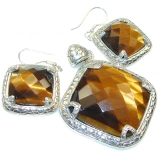 Simple The Best!! Brown Tigers Eye Sterling Silver / Set