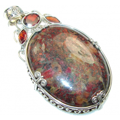Classy!! Brown Moss Agate Sterling Silver Pendant
