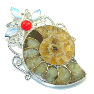 Fashion! Ammonite Fossil Sterling Silver Pendant
