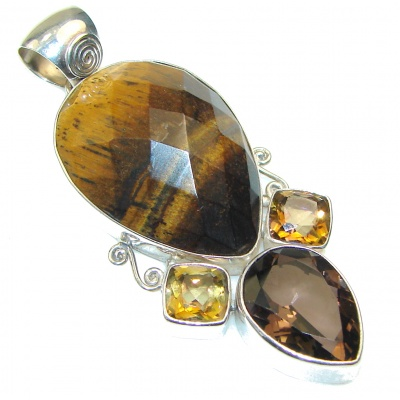 Beautiful!! Brown Tigers Eye Sterling Silver Pendant