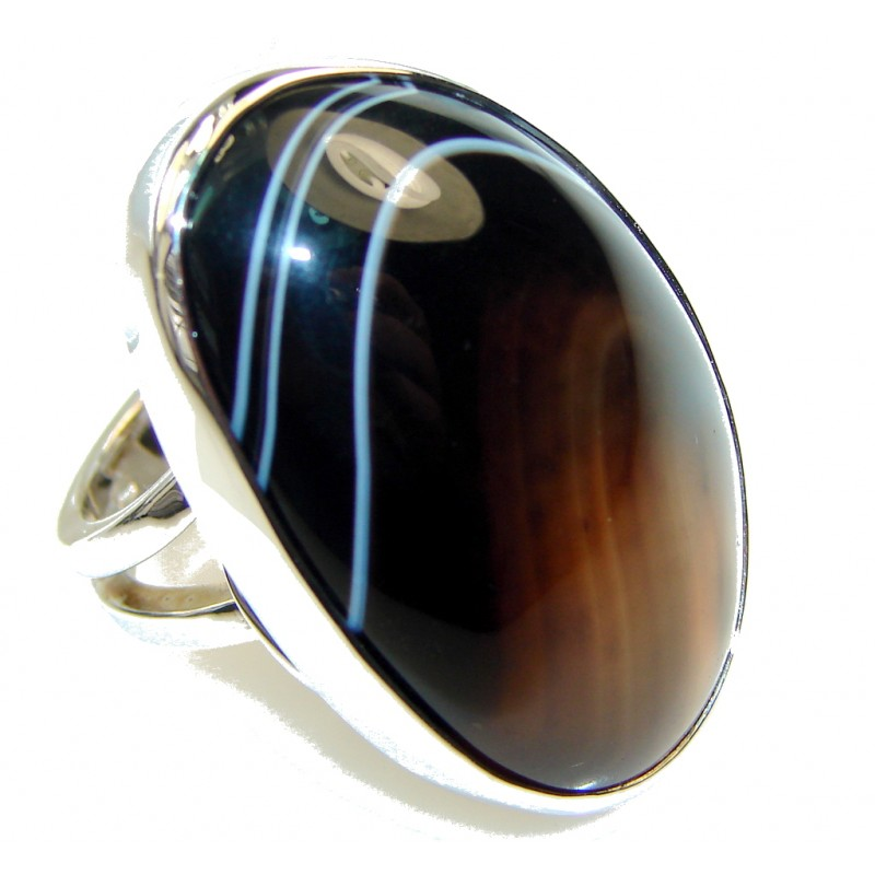 Mysteries! Botswana Agate Sterling Silver Ring s. 7 - Adjustable