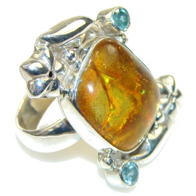 Mystic Orange! Dichroic Glass Sterling Silver ring s. 7