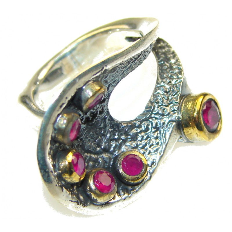 Amazing Turkish! Red Ruby Sterling Silver, 18ct gold plated ring s.7 1/2