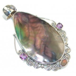 Delicate! Rainbow Abalone Sterling Silver Pendant