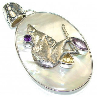 New Trendy!! Blister Pearl Sterling Silver pendant