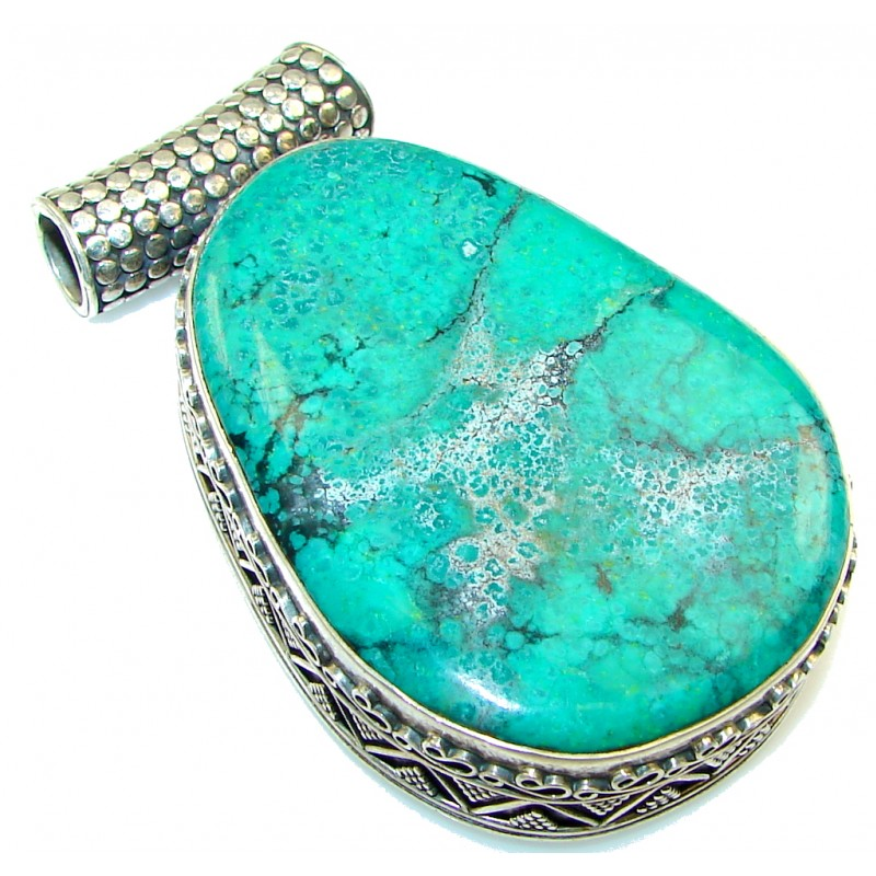 Large! Stylish Blue Turquoise Sterling Silver Pendant