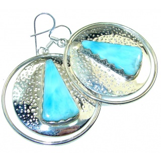 New Design!! Light Blue Larimar Sterling Silver earrings