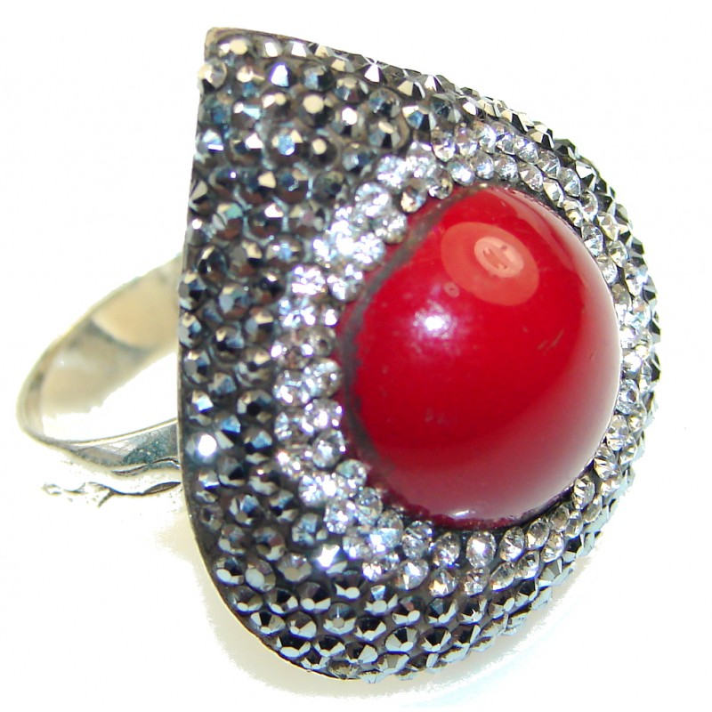 Love Power!! Red Coral Sterling Silver Ring s. 8 1/4