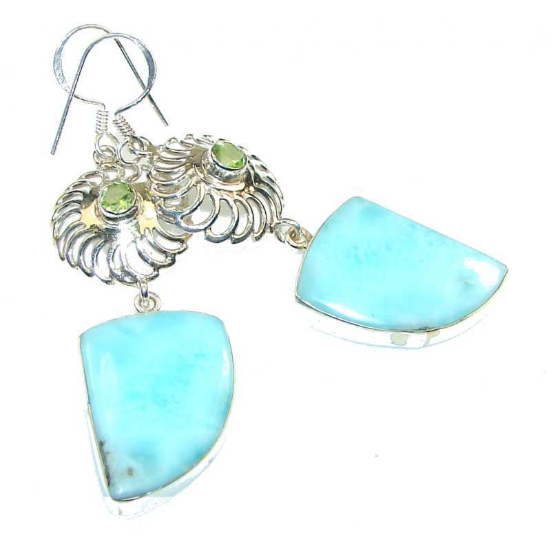 Precious!! Light Blue Larimar Sterling Silver earrings