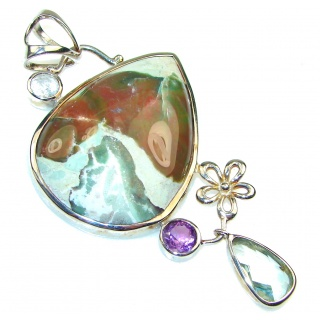 Big! Beautiful Ocean Jasper Sterling Silver Pendant