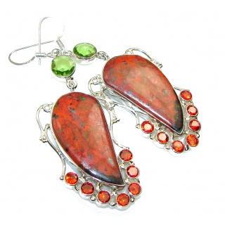 Excellent!! Red Sonora Jasper Sterling Silver Earrings