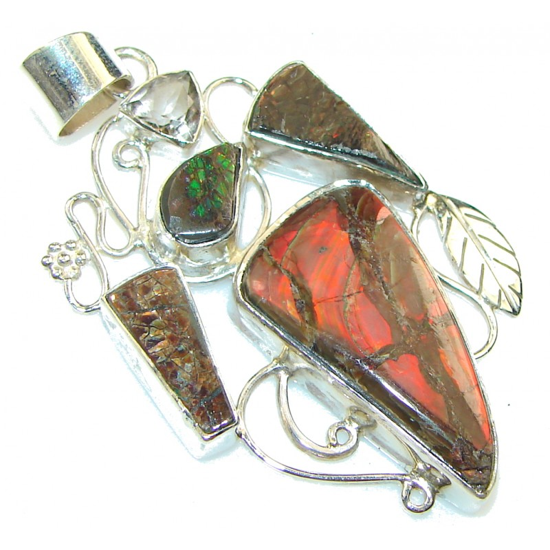 The One! Natural Ammolite Sterling Silver Pendant