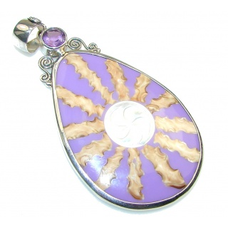 Fabulous Purple Ocean Shell Sterling Silver Pendant