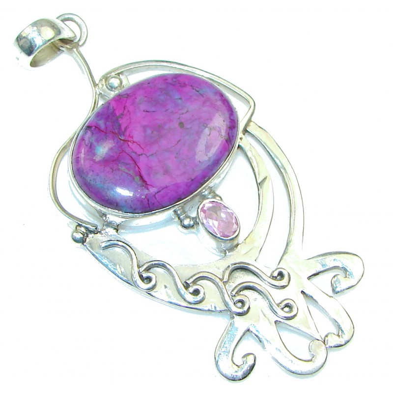 Big! Excellent Purple Turquoise Sterling Silver Pendant