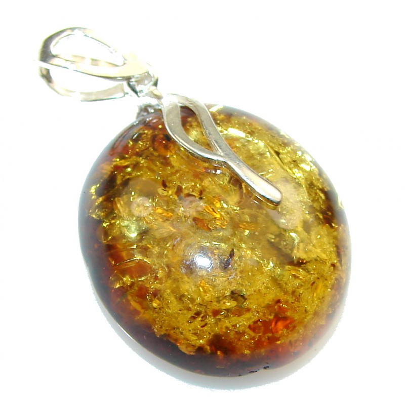 Delicate!! Brown Polish Amber Sterling Silver Pendant