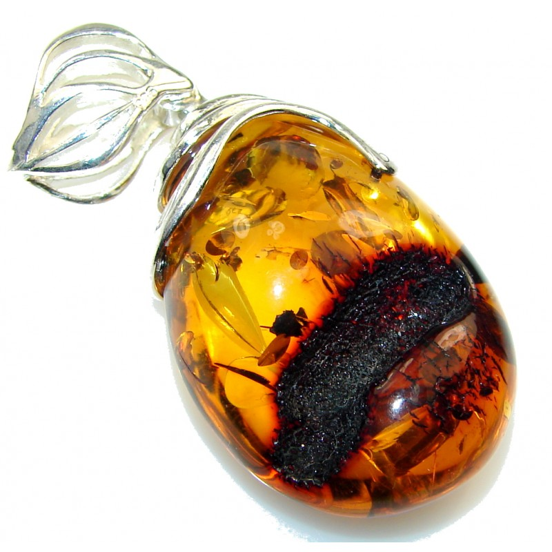 Fashion!! Brown Polish Amber Sterling Silver Pendant