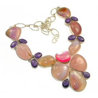Huge! Aura Of Beauty!! Light Pink Agate Sterling Silver necklace