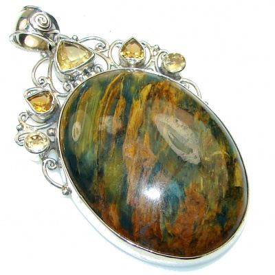 Fabulous Style!! Brown Tigers Eye Sterling Silver Pendant