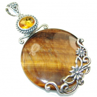 Duality In Brown Tigers Eye Sterling Silver Pendant