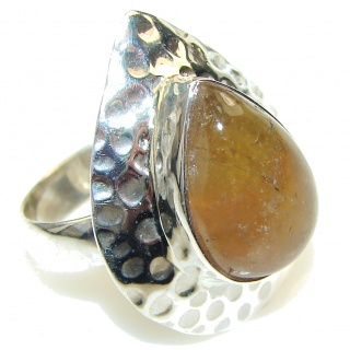 Simple!! Golden Rutilated Quartz Sterling Silver Ring s. 8 1/4