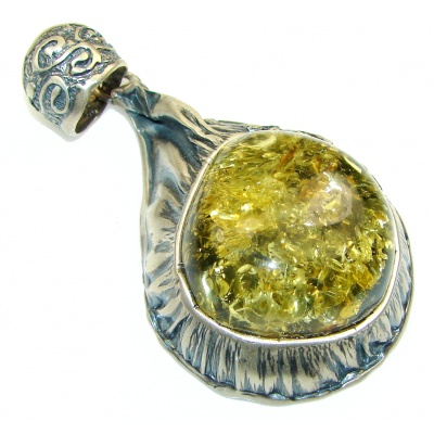 Big! Classy Green Amber Sterling Silver Pendant