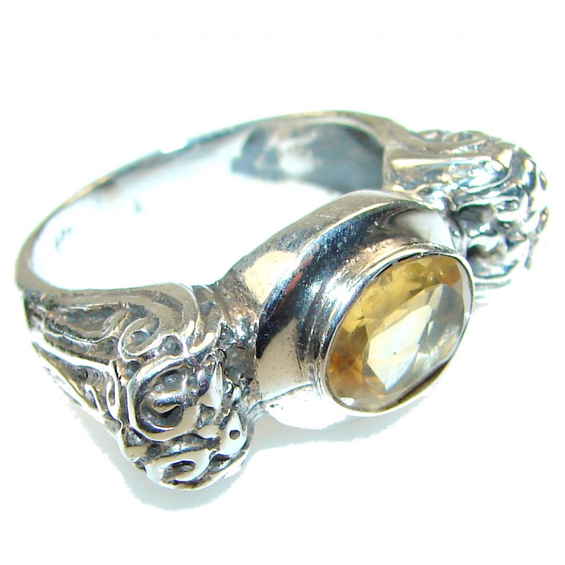 Stylish Design!! Yellow Citrine Sterling Silver Ring s. 8 1/2
