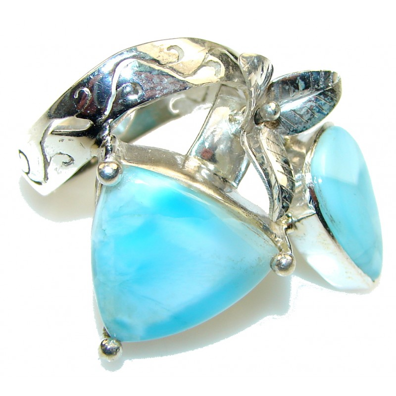 Large! Stunning!! Light Blue Larimar Sterling Silver Ring s. 11 1/2
