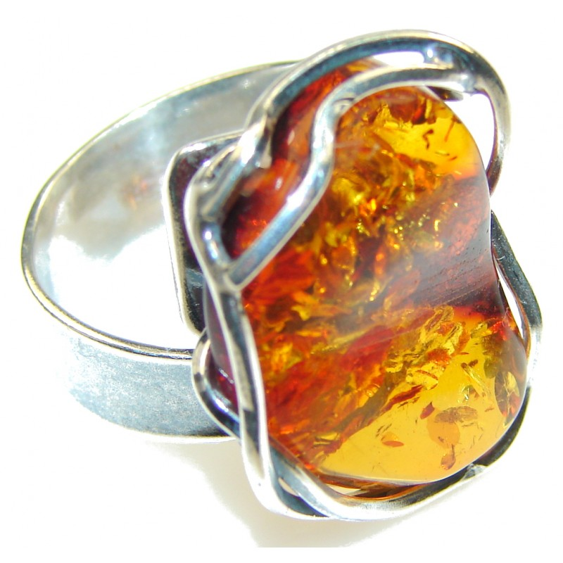 Incredible!! Polish Amber Sterling Silver Ring s. 7- Adjustable