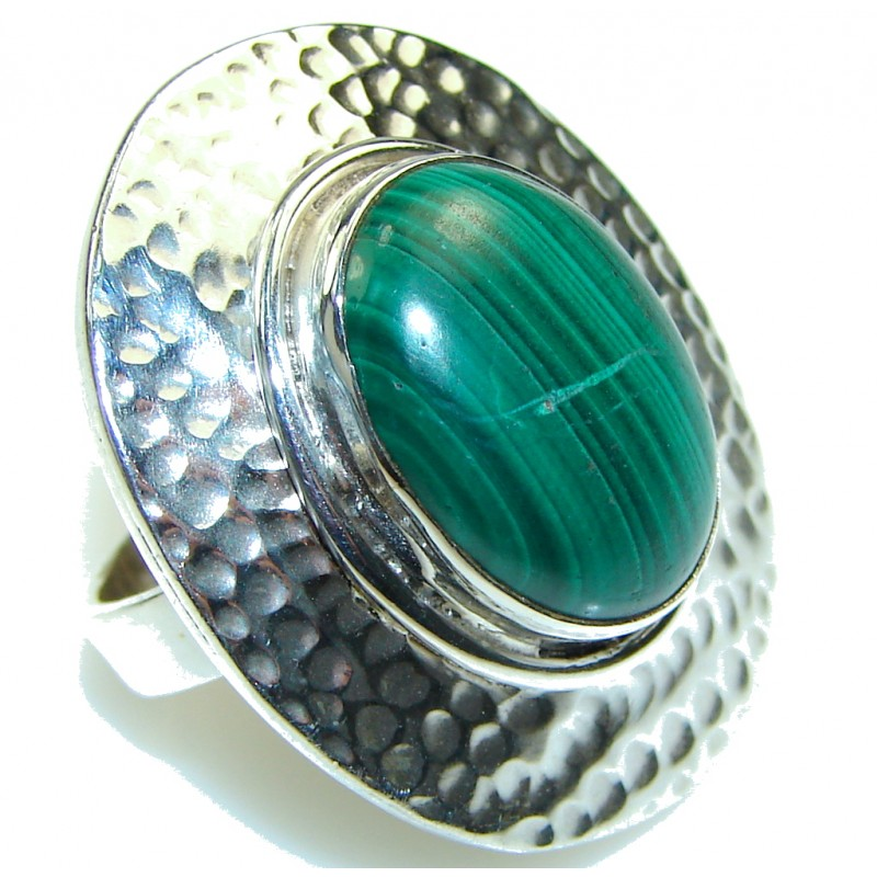 Amazing! Green Malachite Sterling Silver ring s. 6 1/2