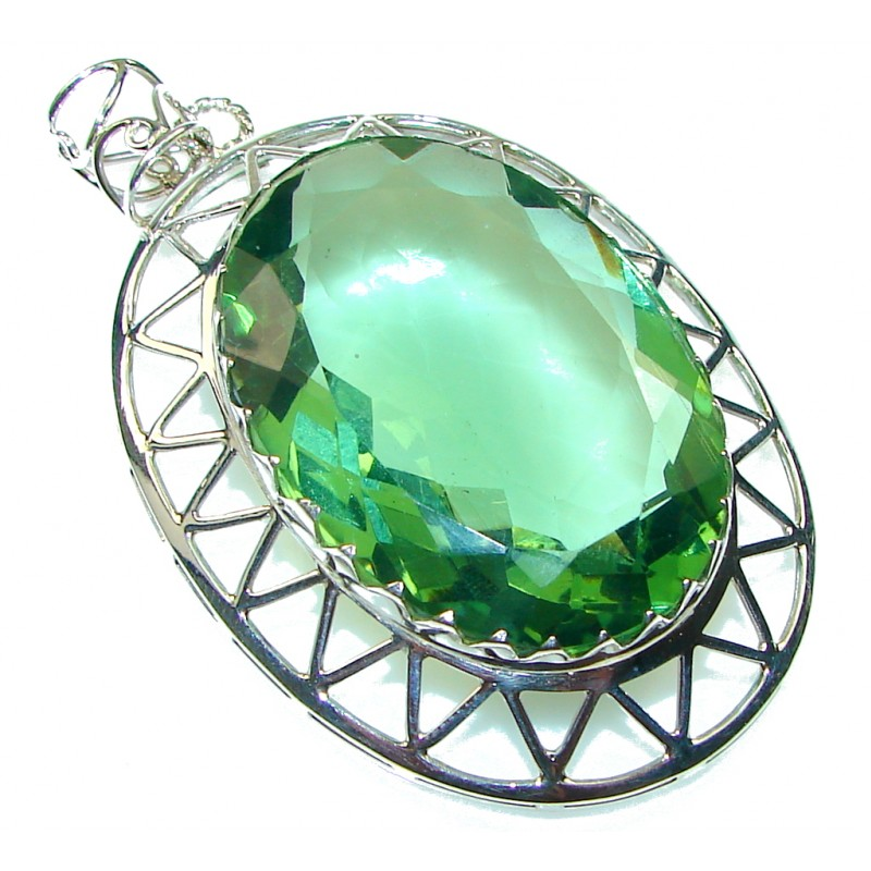 Fresh!! Green Quartz Sterling Silver Pendant