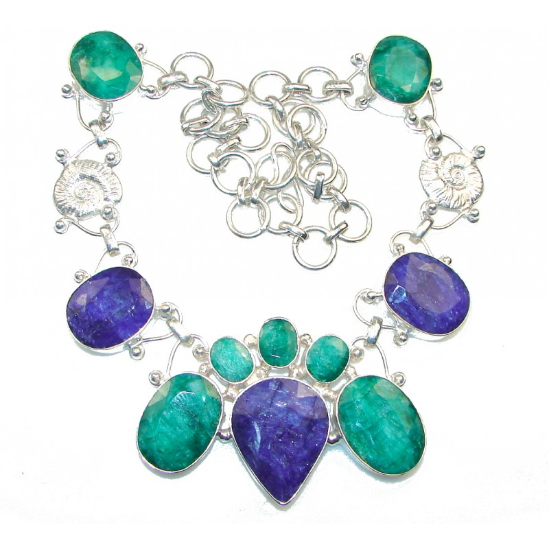 Large! Green Emerald , Blue Sapphire Silver Overlay Necklace